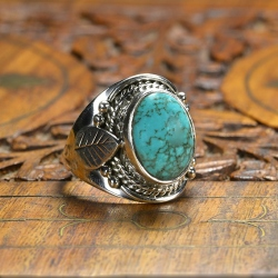 Bague Feuille Turquoise