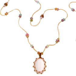 Collier Long Tibet quartz rose