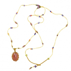 Collier Long Tibet strawberry quartz