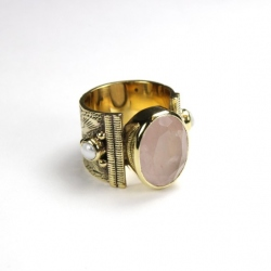 Birdy Bague Agathe Quartz rose