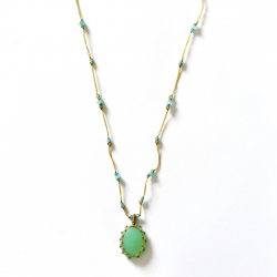 Collier Short Tibet Chrysoprase