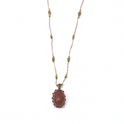 Collier Short Tibet Strawberry Quartz